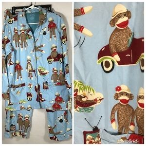 Nick &Nora Fleece Sock Monkey Pajamas PJ Medium